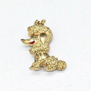 Vintage Monet Gold Tone Poodle Dog Pin Brooch